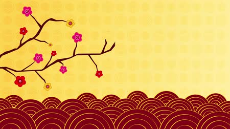 ano novo chinês : Animation of plum blossoms and wave Vídeos