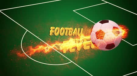 futbol topu : Flaming soccer ball with message Stok Video