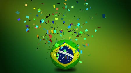 brazília : Brazil flag on a soccer ball with confetti