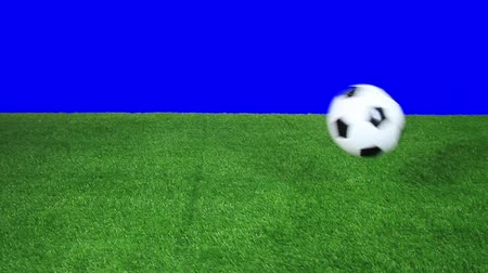futbol topu : Soccer ball bouncing on field in slow motion
