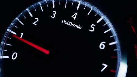 mph : Close up on dashboard tachometer