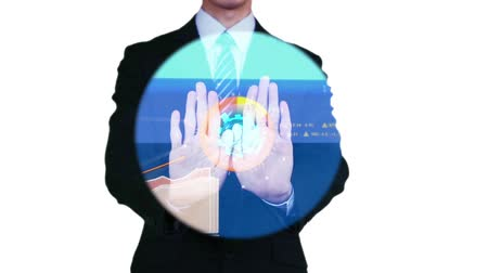 podnikatel : Businessman gesturing on futuristic touch screen