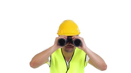 vállalkozó : Contractor with his binoculars Stock mozgókép
