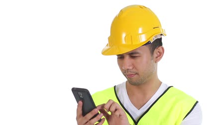 vállalkozó : Contractor is happy to receive good news through phone Stock mozgókép