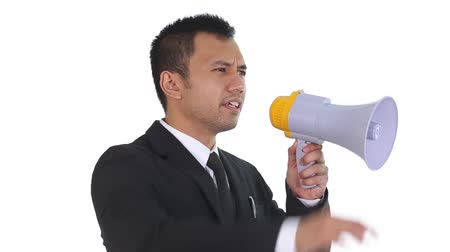 мегафон : Businessman speaking through a megaphone Стоковые видеозаписи