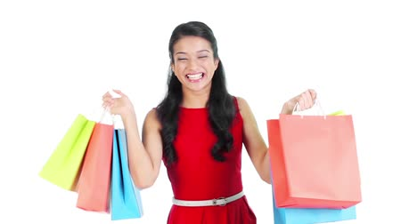 áruk : Footage of a woman with shopping bags
