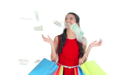 won : Footage of a shopaholic woman won money prize