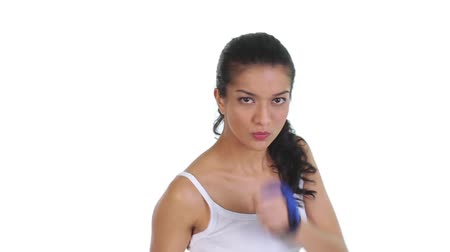 lutador : Footage of fit young woman doing boxing Stock Footage