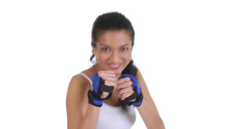 puncs : Footage of fit young woman doing boxing Stock mozgókép
