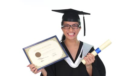certidão : Footage of graduated young woman holding certificate Vídeos