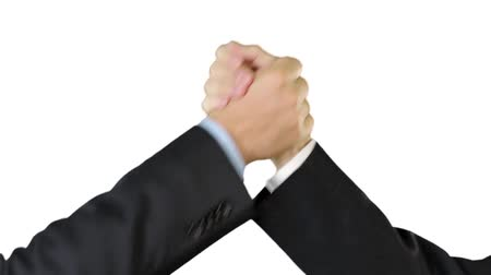 партнеры : Businessmen casual hand shakes Стоковые видеозаписи