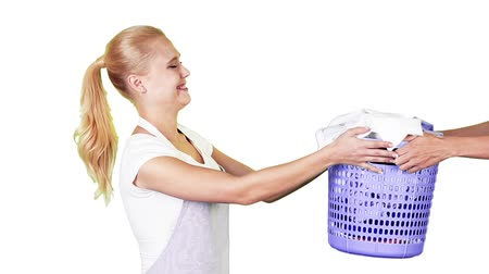 çamaşırhane : Housekeeper looking happy doing laundry