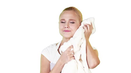 csak a fiatal nők : Housekeeper holding fresh and clean towel