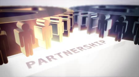 partnerstwo : Close up on spinning gears with partnership text Wideo