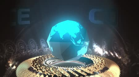kavramsal : Conceptual of gears and world globe with conference text Stok Video