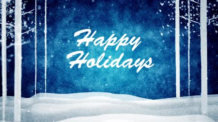 happy holidays : Happy holidays message with snowing Stock Footage