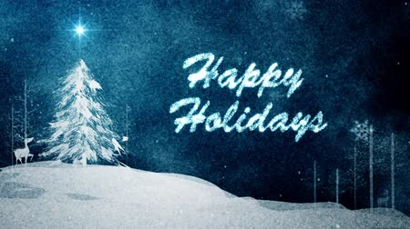 happy : Watercolor texture with Happy Holidays message Stock Footage