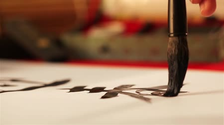 ano novo chinês : Writing chinese calligraphy welcome spring