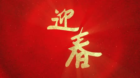 Новый год : Chinese New Year greeting Welcome Spring transition Стоковые видеозаписи