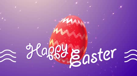 easter : Happy Easter with painted chocolate easter egg Stock Footage