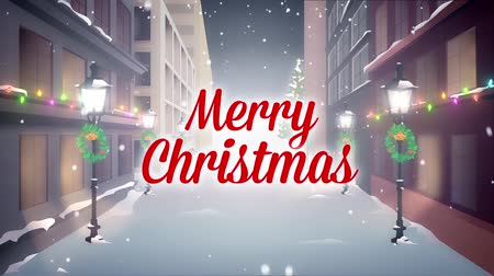 Merry Christmas greetings with city background