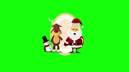 kardan adam : Santa Claus and friends Stok Video