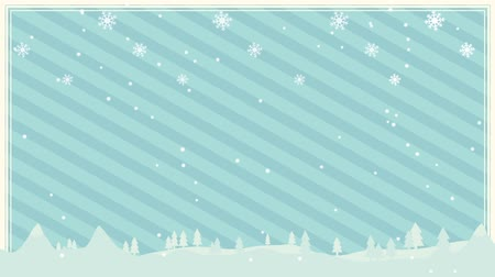 nevando : Snowflakes snowing on blue background Vídeos