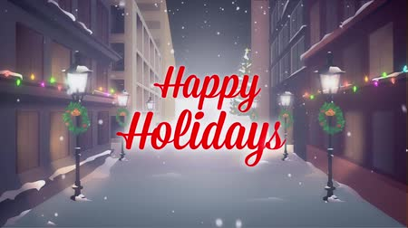 Happy Holidays with city background