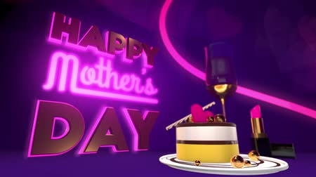 günler : Happy Mothers Day intro (with luma matte) Stok Video
