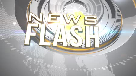 news tv : News Flash Opening Intro with 3D animation Stock Footage