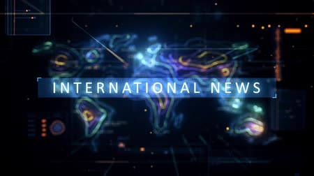 ortam : International News with world map in HUD environment Stok Video