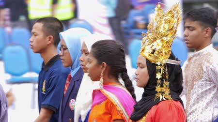 participants : Participants marching on Malaysian Independence Day