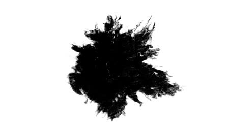 bleed : Black ink splatters and spreads on surface Stock Footage