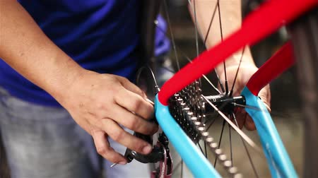 repairer : Bicycle wheel maintenance Stock Footage
