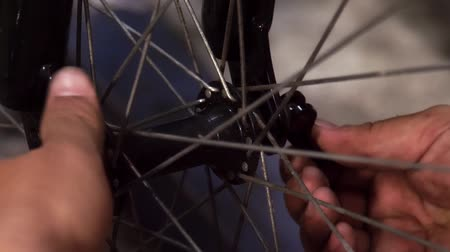 repairer : Close up on bicycle maintenance service Stock Footage