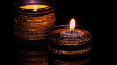 knot : Diya lamps lit on diwali celebration