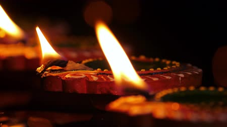festivais : Diya lamps lit on diwali celebration