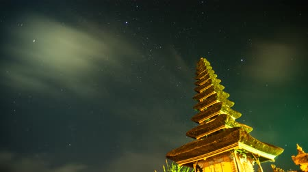 bratan : Stars and Clouds Time Lapse at a temple, Bali