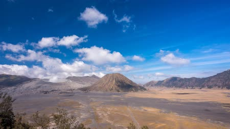 indonesia : Cloudscape Time Lapse at Mount Bromo and Mount Batok during daylight.