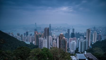 паром : Day to night Time Lapse of Hong Kong City Center