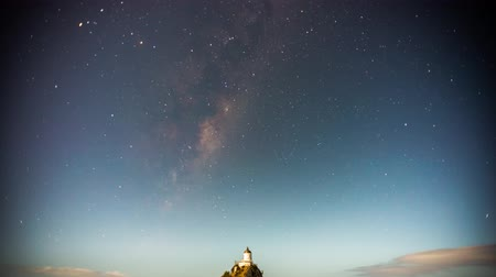 világítótorony : Milky way time lapse at Nugget Point Lighthouse the Catlins New Zealand Stock mozgókép