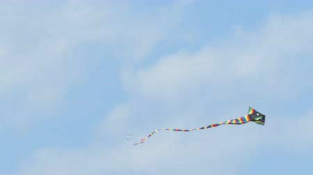 Colorful kite in blue sky Стоковые видеозаписи