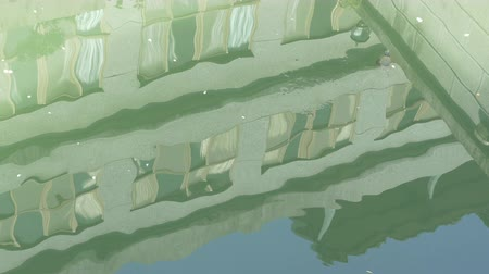 daireler : Reflection of apartment in pond with rapidly changing light