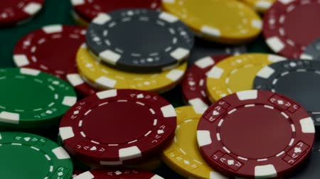 Casino chips on table Стоковые видеозаписи
