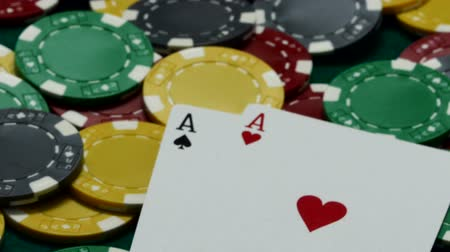 Pair of aces on casino table Стоковые видеозаписи