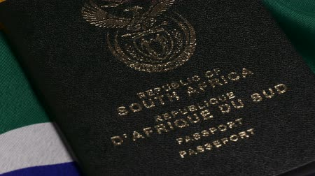 South African passports on flag 動画素材