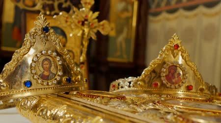 aanbidding : Detailed shot of Orthodox golden wedding crowns