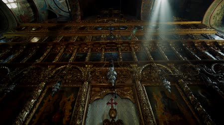 pascha : Interior of a traditional Orthodox Church - Golden Iconostasis