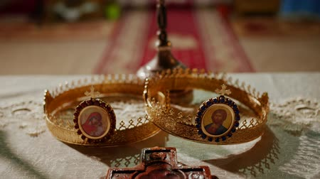 worship : Interior of a traditional Orthodox Church - Tradional wedding crowns