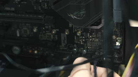 chipset : Electronic engineer of computer technology. Maintenance computer cpu hardware upgrade of motherboard component. Pc repair, technician and industry support concept. Stock Footage